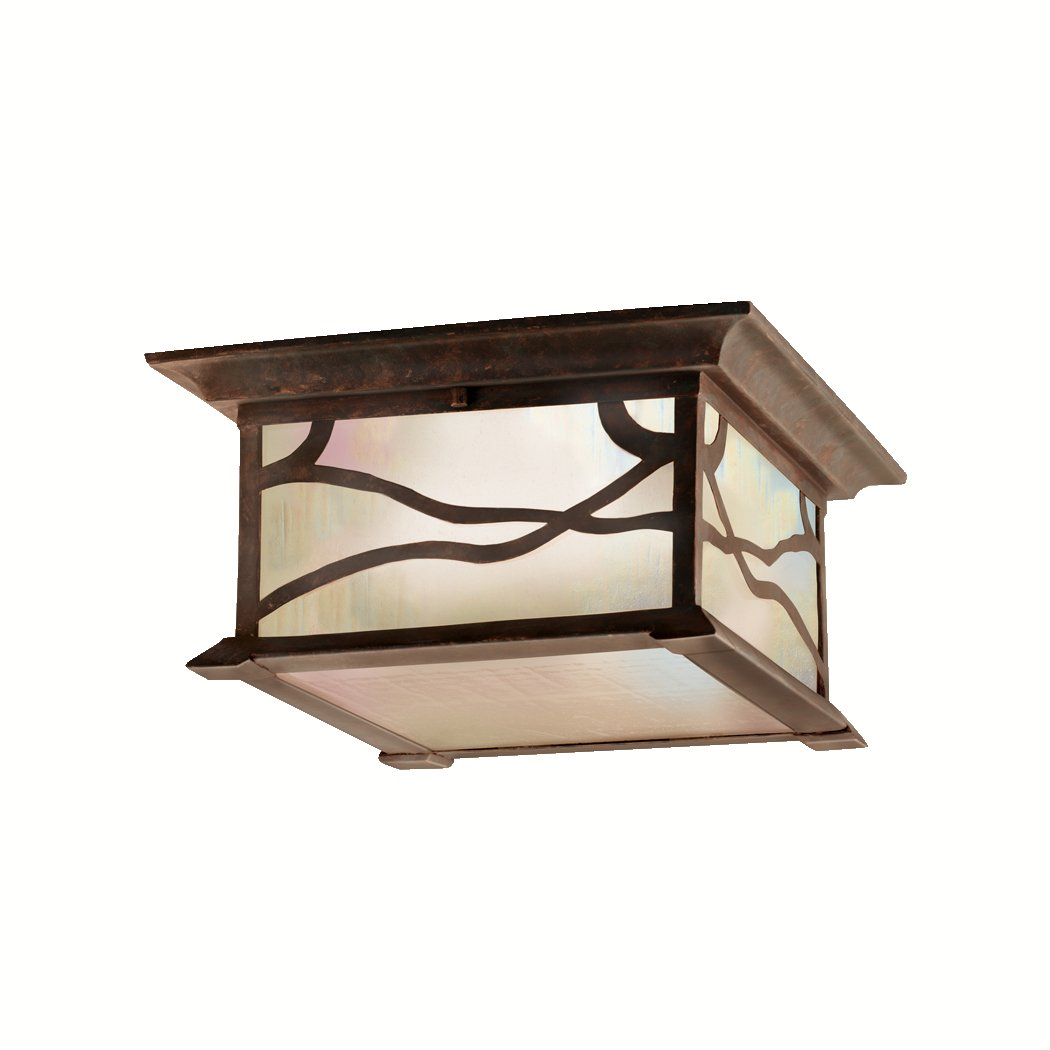 kichler lighting 9838dco morris 2light flush mount outdoor ceiling light distressed copper finish with iridized seedy glass close to - Outdoor Ceiling Lights