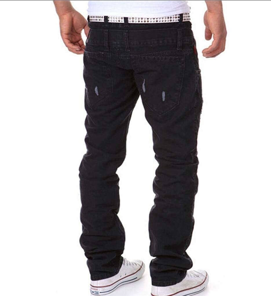 Comaba Men/'s Solid Color Baggy Sports Cargo Pants Ripped HolesTrouser