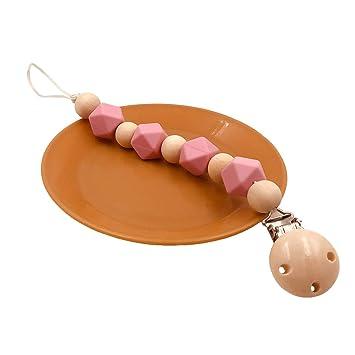 Cadena para chupete de madera y silicona para niños y niñas ...