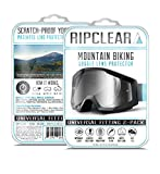 RIPCLEAR Mountain Biking Goggle Lens Scratch Protector Kit - All-Weather Protection, Crystal Clear - Universal Fitting, 2-Pack