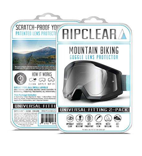 RIPCLEAR Mountain Biking Goggle Lens Scratch Protector Kit - All-Weather Protection, Crystal Clear - Universal Fitting, 2-Pack by RIPCLEAR