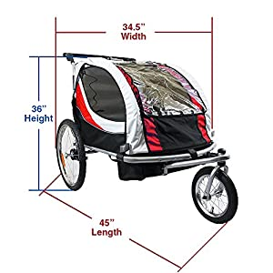 Clevr Red Collapsible 2 Seats 3-in-1 Double Bicycle Trailer Baby Bike Jogger/Stroller Jogging Running Kids Cart Bike   Suspension & Pivot Front Wheel