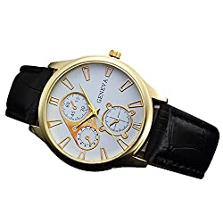 Big Sale ! Auwer Mens Quartz Wristwatch, Retro Design Leather Band Analog Alloy Quartz Wrist Watch PU Leather Band Clock (B)