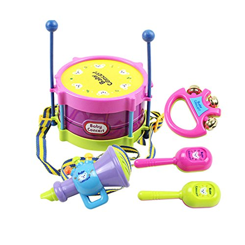 coolplay-5-pcs-roll-drum-musical-instruments-set-with-sticks-saxophone-whistle-maracas-tambourine-fo