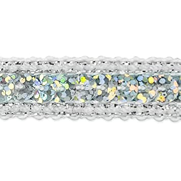 20-Yard Expo International Single Row Starlight Hologram Sequin with Sparkle Edge Trim Silver