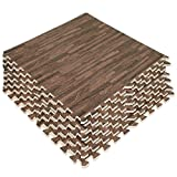 LaFamille Wood Grain Floor Mat 6 Tiles 24 sq ft Foam Interlocking Puzzle Wood Mat for Kids, Gym, Basement 2'x2' (Light/Dark Wood)