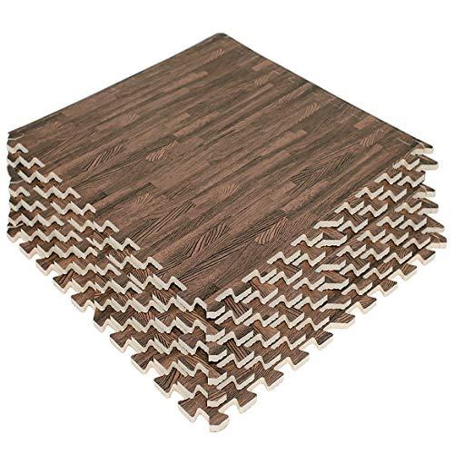 LaFamille Wood Grain Floor Mat 6 Tiles 24 sq ft Foam Interlocking Puzzle Wood Mat for Kids, Gym, Basement 2'x2' (Light/Dark Wood)
