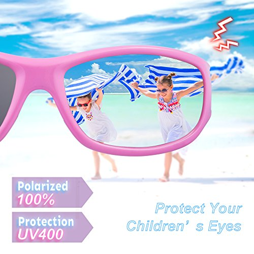 71c385524f RIVBOS Rubber Kids Polarized Sunglasses With Strap Glasses for Boys Girls  Baby and Children Age 3