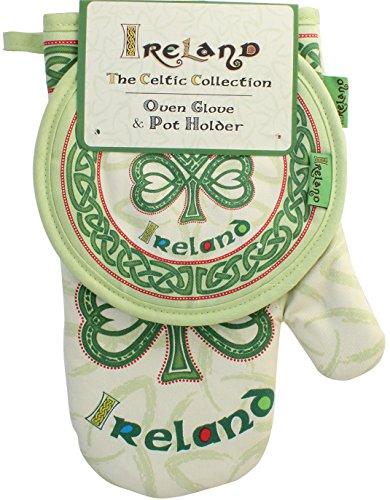 Celtic Collection Oven Glove & Pot Holder With Irish Shamrock Design