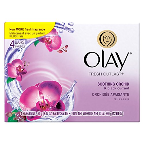 - Olay Fresh Outlast Soothing Currant Beauty Bar, Orchid and Black, 4 Count, Packaging May Vary