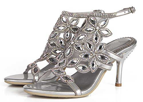 Heel Sandals Perfect Stiletto Party Pump Mid Honeystore Silver Shoes Rhinestone for Women Wedding wAq1aX4