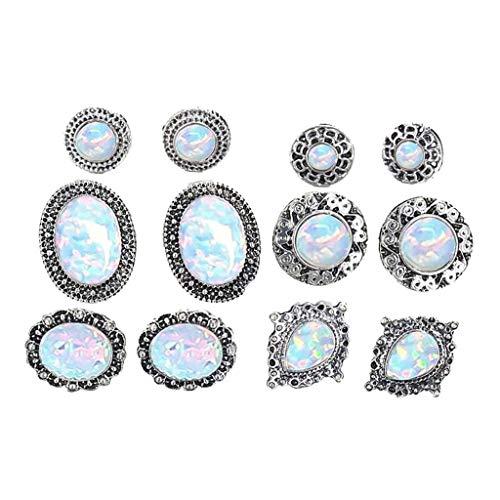 Haluoo 6 Pairs Assorted Multiple Boho Stud Earrings Jacket Set Cute Vintage Turquoise Gemstone Earrings Hypoallergenic Earrings Set for Women and Girls (Silver)