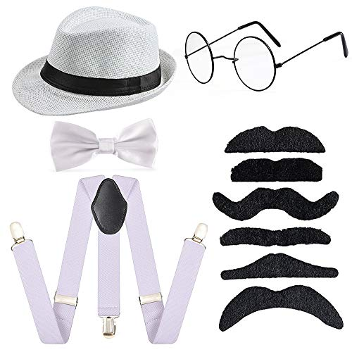 Old Gangster Hats (Beelittle Kids 54cm Fedora Hat Suspenders Bow Tie Set Adjustable Y Back for 2-10 Years Old)