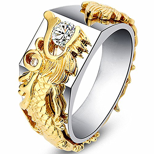 - Desirepath Copper Rings for Men Women Dragon Design Tungsten Carbide Wedding Band Engagement Rings