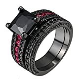 LILILEO Jewelry Black Gold Sets Of High-Grade Black And Red Nano Zircon Ring For Women's Rings