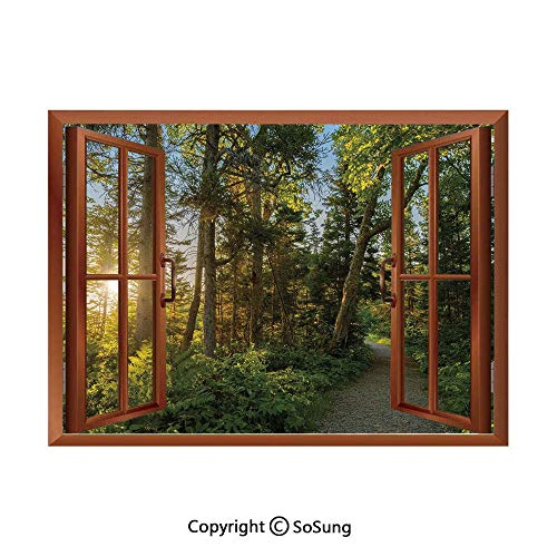 Landscape Removable Wall Sticker/Wall Mural,National Park in Cape Breton Highlands Canada Forest Path Trees Tranquility Photo Creative Open Window design Wall Decor,24
