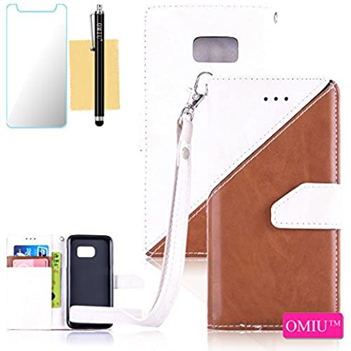 Galaxy S7 Case,S7 Case,OMIU(TM) Premium PU Leather Stitching Fabric Patterns Design Card Slots Stand Wallet Case for Samsung Galaxy S7-(White+Brown) Sales