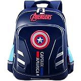 Cheap YOURNELO Children's Light-reflecting Marvel Heroes Rucksack School Backpack Bookbag (Captain America 5 Dark Blue)