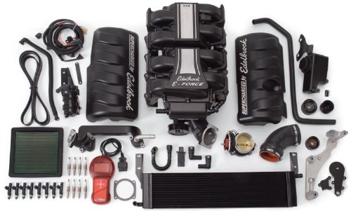 Edelbrock 1580 E-Force Stage-1 Street Systems Supercharger 2300 TVS 466 HP/439 Torque Incl. Supercharger/Manifold/3.875 in. 6 Rib Drive Pulleys/103.7 in. Belt/41 lbs/hr/Hardware E-Force Stage-1 Street Systems Supercharger