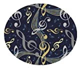 Virtuoso Music Notes Navy Blue - 3' ROUND Custom Stainmaster Premium Nylon Carpet Area Rug ~ Bound Finished Edges