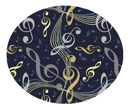Virtuoso Music Notes Navy Blue - 3' ROUND Custom Stainmaster Premium Nylon Carpet Area Rug ~ Bound Finished Edges by Children's Choice