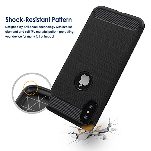 Coque iPhone X, Simpeak Noir Silicone Gel Etui Housse Souple Coque de Protection pour Apple iPhone X (5,8 Pouces) Fibre de Carbone Case