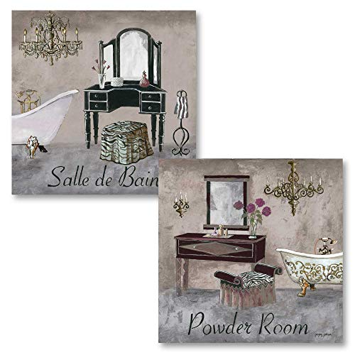 Gango Home Decor's Bathroom Collection - Gray, Brown and Black French Vanity -