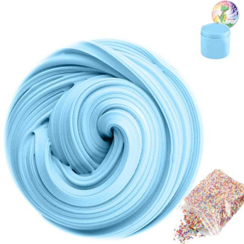 SLOUEASY - Baby Blue Fluffy Slime with Foam Balls - Non-Sticky Hand Jumbo Fluffy Floam Slime Putty Stress Relief Toy Scented Sludge Slime Toy for Kids Adults Clay Molds Craft Supplies,Beading (7oz)