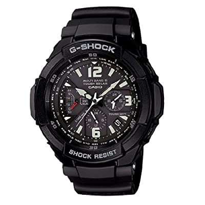 Casio Aviation Black Dial Black Rubber Mens Watch GW3000BB-1A from Casio