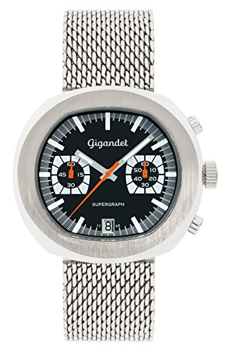 Gigandet Men's Quartz Wrist Watch Supergraph Chronograph Analogue Date Silver G11-002
