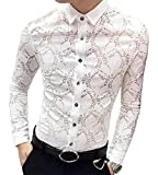 OUYE Men's Slim Fit Long Sleeve Casual Shirt XX-Large White Lace