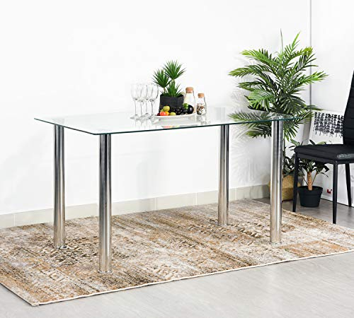 Aingoo Modern Minimallist Glass Kitchen Table Dining Room Table Rectangular Transparent Metal Legs 48IN for 4/6 Persons Silver