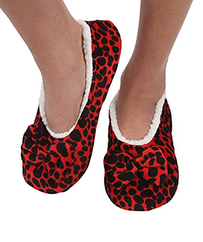 Snoozies Ballerina Split With Womens Comfort Fit Leopard Red Touch Slippers Me Sole FpnFAxg