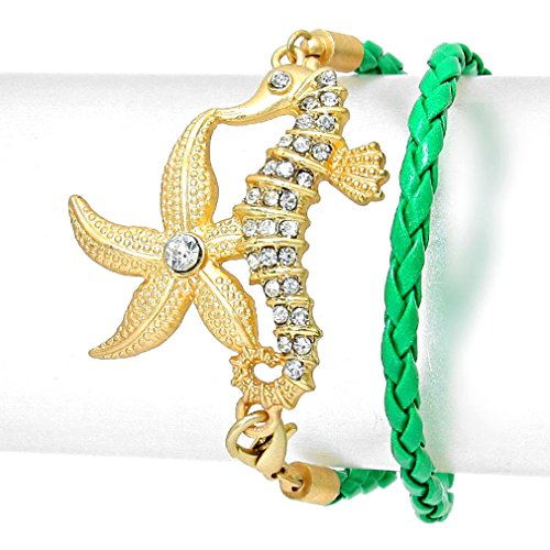 [Uniklook Braided Green Leather Like Gold Rhinestone Starfish Seahorse Bracelet Fashion Nautical] (Seahorse Costume Women)