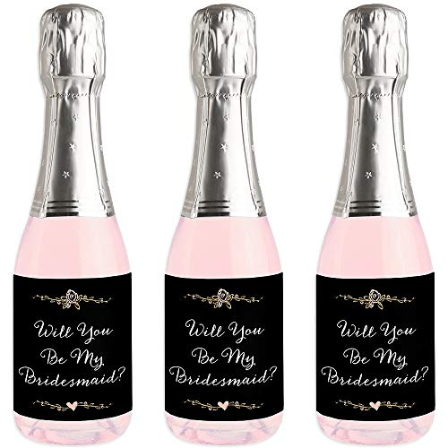 Best Day Ever - Mini Wine and Champagne Bottle Label Stickers - Will You Be My Bridesmaid Gift for Women and Men - Set of 16