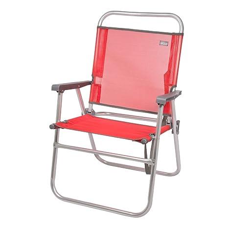 AKTIVE 53968 Silla Plegable Fija Aluminio Beach, 51 x 56 x 90 cm, Rojo