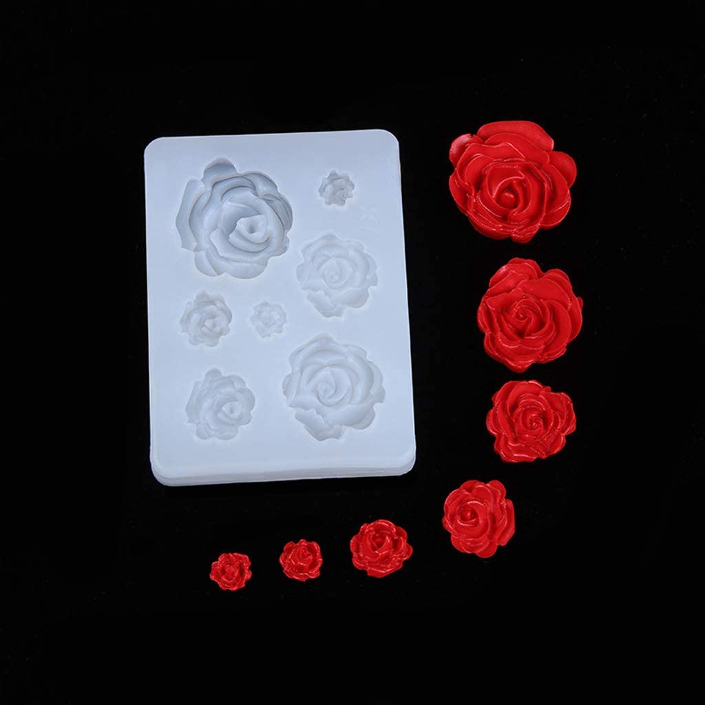 MYA 1Pc 7 Tailles R/ésine Rose Fleur Pendentif Moule en Silicone R/ésine Bijoux Fabrication dart Artisanat,Rose Fleur Forme Resine Epoxy Pendentif Moulle Resine Bijoux Cadeaux Outils De Bricolage