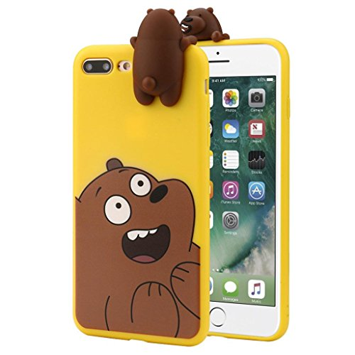 Sunbona iPhone 8 Plus Case, 3D Cartoon Animals Cute Bare Bears Soft Silicone Case Skin for iPhone 8 Plus 5.5 Inch (Yellow)