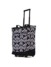 Olympia Fashion Rolling Shopper Tote DB, Damask Black, One Size