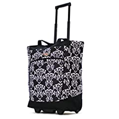 The perfect shopping companion, this rolling shopper tote makes transporting your items easy. Features a retractable pull handle with hideaway zippered enclosure and ball bearing inline skate wheels