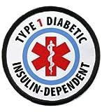 TYPE 1 DIABETIC Insulin Dependent Medical Alert 2.5 inch Black Rim Sew-on Patch