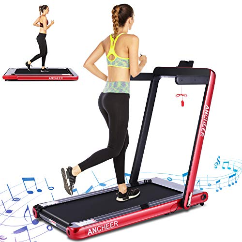 ANCHEER 2 in1 Folding Treadmill, 2.25 HP Smart Walking Running Machine with Bluetooth Audio Speakers, Under Desk Treadmill for Home Gym Cardio Fitness (Red)