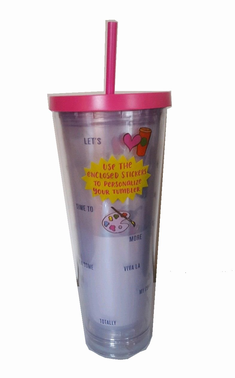 Starbucks Venti Personalize Your Cup 2017 Cold Cup Tumbler 24Oz Pink With Stickers