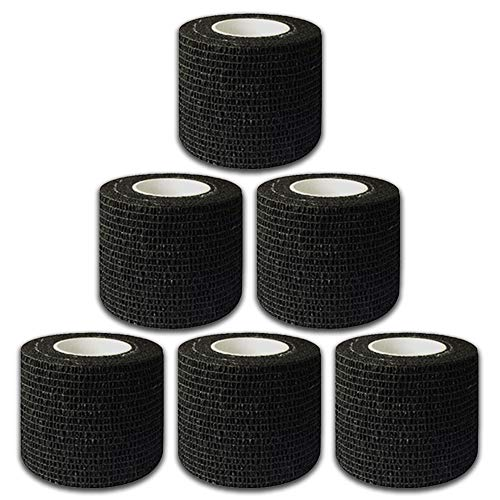 "Autdor Tattoo Grip Cover Wrap - 6Pcs 2"" x 5 Yards Disposable Cohesive Tattoo Grip Tape Wrap Black Elastic Bandage Rolls Self-Adherent Tape for Tattoo Machine Grip Tube Accessories, Sports Tape"