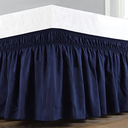 Wrap Around Bed Skirt, Elastic Dust Ruffle Easy Fit Wrinkle and Fade Resistant Solid Color Hotel Quality Fabric (Queen, Navy)