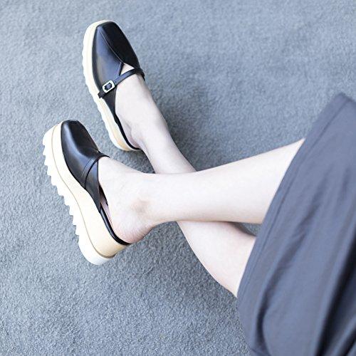 Black WSXY De Sandalias Y De Microfibra KJJDE Chanclas L1415 Cinturón Tobillo Mujer Cuña Verano Hebilla Correas De Cuero Sandalias De dqHanI5