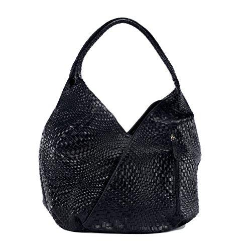 Sac Noir CUIR femme en DESTOCK à nouvelle Modèle tressé cuir Main Mandalay collection FFTnx75qA