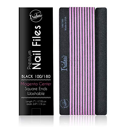 Professional Nail Files Black Washable Emery Boards 7 Inches Long Square End Serrated Edge 12 Fingernail Files Per Pack - End Serrated