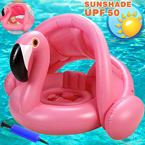 Flamingo Baby Swimming Ring with Canopy-Inflatable Baby Swimming Pool Float Sunshade for Infant Kids Boys Girls Toddlers Age 8-48 Months Up to 40Lbs Summer Outdoor Beach Water Bath ()