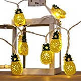 Mesh Metal Pineapple String Lights, 1.96 ft 20 LED Fairy String Lights Battery Operated for Christmas Home Outdoor Hanging String Lights for Hawaiian Luau Tropical Theme Party Festival Decorations